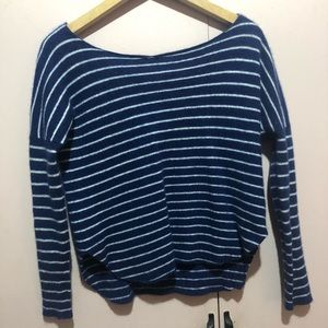 VINCE Cashmere Blue and White Stripe Sweater
